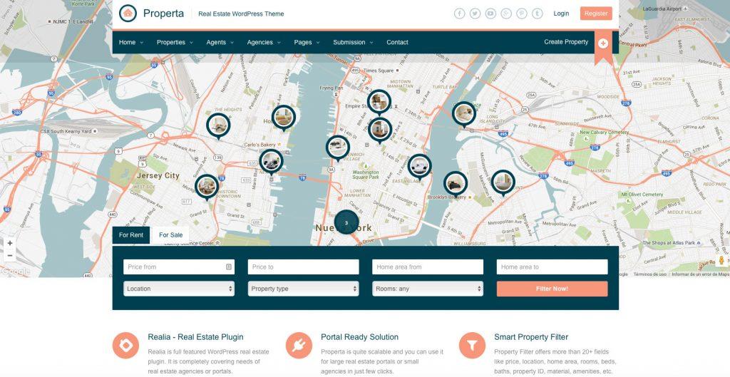Properta Plantillas WordPress para Portal Inmobiliario