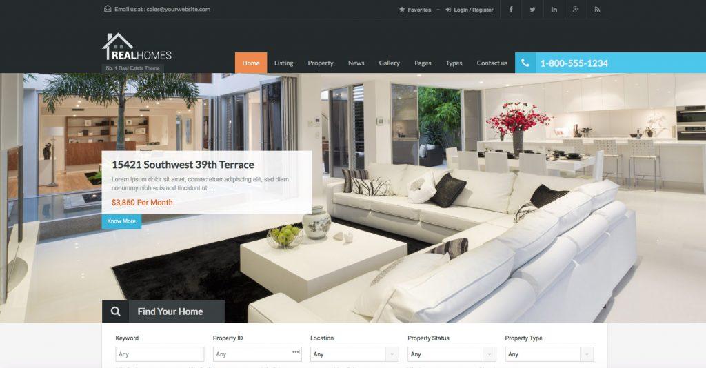 Real-Homes-Plantillas WordPress para Portal Inmobiliario