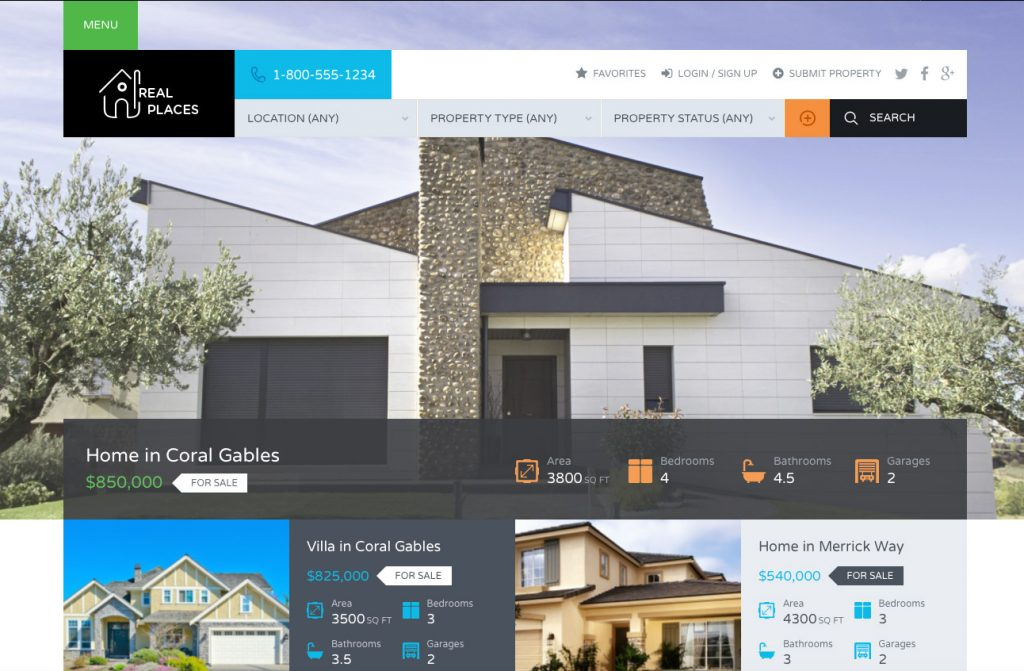 Real-places Plantillas WordPress para Portal Inmobiliario