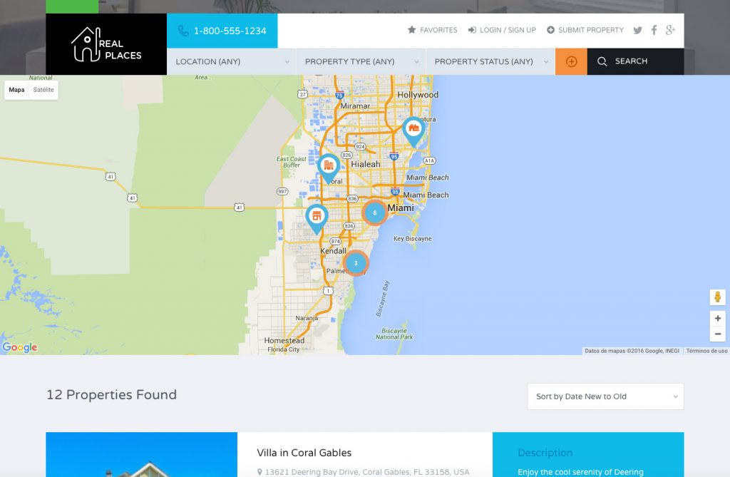 Real-places-busqueda Plantillas WordPress para Portal Inmobiliario